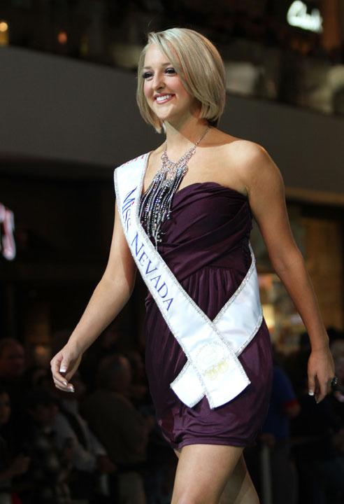 LAS VEGAS, NV - JANUARY 07:  2012 Miss America Pageant contestant Miss Nevada Alan Lee walks the runway at the Fashion Show Mall on January 7, 2012 in Las Vegas, Nevada.  (Photo by Marcel Thomas/FilmMagic)