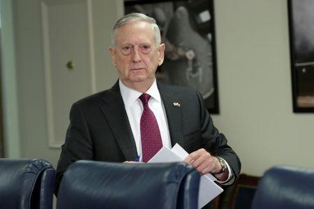 Defense Secretary James Mattis arrives as his meeting with Ajit Doval