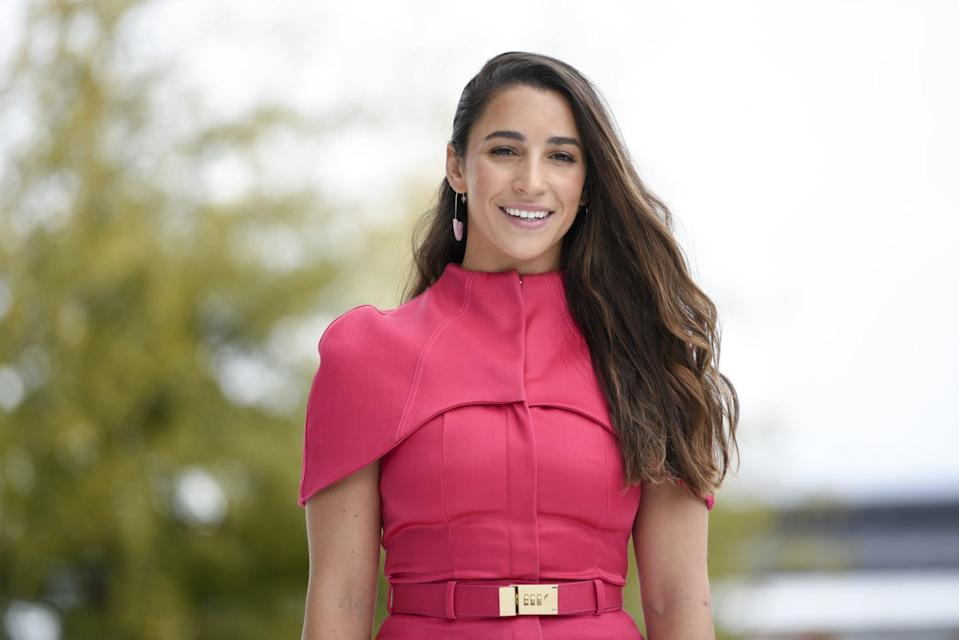 CUPERTINO, CA - MARCH 25: Olympian gymnast Aly Raisman poses for a photo during an Apple product launch event at the Steve Jobs Theater at Apple Park on March 25, 2019 in Cupertino, California. Apple announced the launch of it's new video streaming service, unveiled a premium subscription tier to its News app, and announced  it would release its own credit card, called Apple Card.  (Photo by Michael Short/Getty Images)