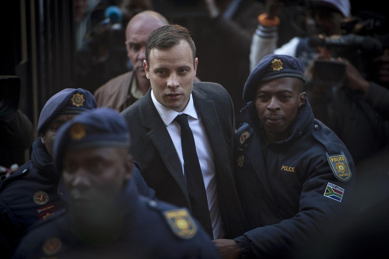 """<p>The South African Olympic runner known as the """"Blade Runner"""" was sentenced to five years in 2013 after he was found guilty in the death of his girlfriend, Reeva Steenkamp. He was found guilty of manslaughter but was acquitted of the premeditated murder charge, which would have given Pistorius a much longer prison term. </p>"""
