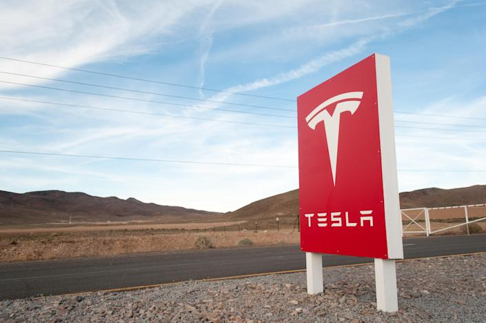 RENO, NEV - MARCH 25: Security gate outside the Tesla Motors Gigafactory construction site east of Reno, Nev., March 25, 2015. (Photo by David Calvert/For The Washington Post via Getty Images)