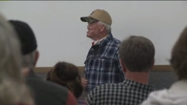 Lee Brooke speaks to a gathering of friends and supporters in Pennsyvlania. Brooke was attacked and mauled by a grizzly bear last year and is undergoing extensive facial reconstruction surgery. (Photo: Fox 31, KDVR)