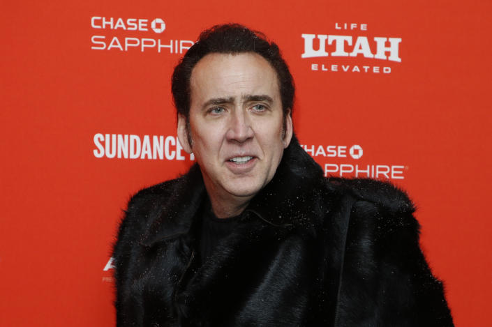 FILE - In this Jan. 19, 2018 file photo, actor Nicolas Cage poses at the premiere of