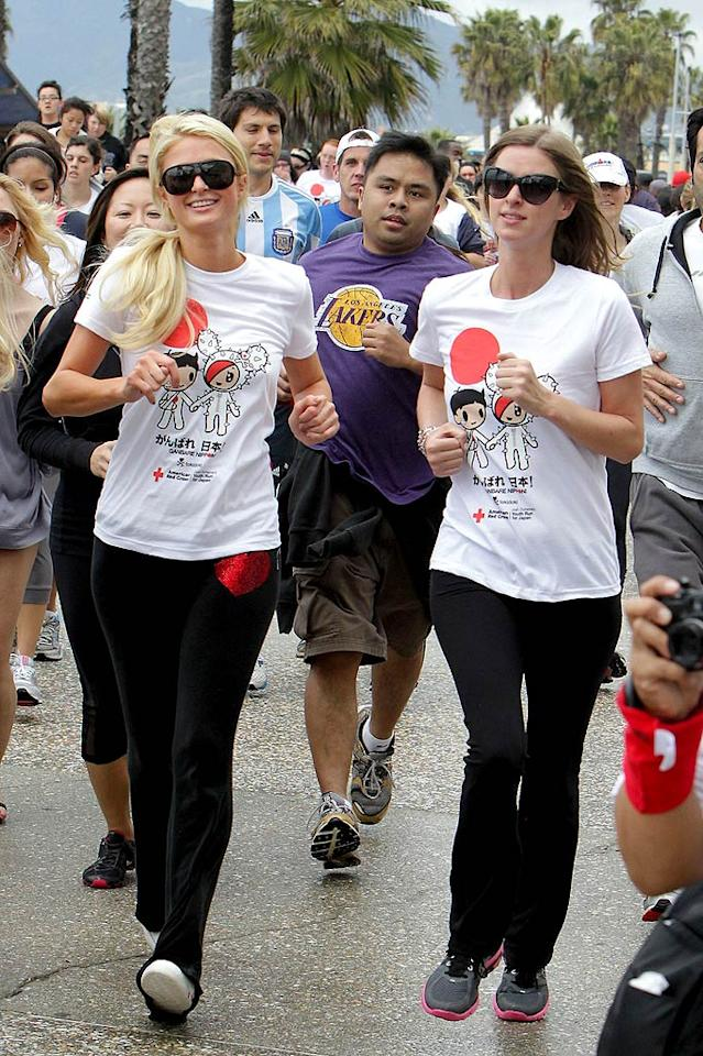 """In March, socialite siblings Paris and Nicky Hilton participated in the American Red Cross' """"Youth Run 4 Japan,"""" hosted by actor Josh Duhamel, in Santa Monica, California. All funds raised from the charity event went to helping those affected by the Japanese earthquake and tsunami. Juan Sharma/Gaz Shirley/<a href=""""http://www.pacificcoastnews.com/"""" target=""""new"""">PacificCoastNews.com</a> - March 27, 2011"""