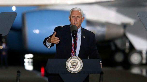 PHOTO: Vice President Mike Pence speaks to supporters, Oct. 24, 2020, in Tallahassee, Fla.  (Steve Cannon/AP)