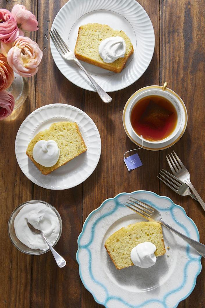 """<p>If this year's Mother's Day celebration is tending more toward a small gathering, then you can create something elegant without going big. This simple sweet cake is delicious with a dollop of whipped cream, and pairs well with a strong cup of tea.</p><p><strong><a href=""""https://www.countryliving.com/food-drinks/a34962573/lemon-rosemary-tea-bread-recipe/"""" rel=""""nofollow noopener"""" target=""""_blank"""" data-ylk=""""slk:Get the recipe"""" class=""""link rapid-noclick-resp"""">Get the recipe</a>.</strong></p><p><a class=""""link rapid-noclick-resp"""" href=""""https://www.amazon.com/USA-Pan-1140LF-Bakeware-Aluminized/dp/B0029JQEIC/?tag=syn-yahoo-20&ascsubtag=%5Bartid%7C10050.g.3185%5Bsrc%7Cyahoo-us"""" rel=""""nofollow noopener"""" target=""""_blank"""" data-ylk=""""slk:SHOP LOAF PANS"""">SHOP LOAF PANS</a></p>"""