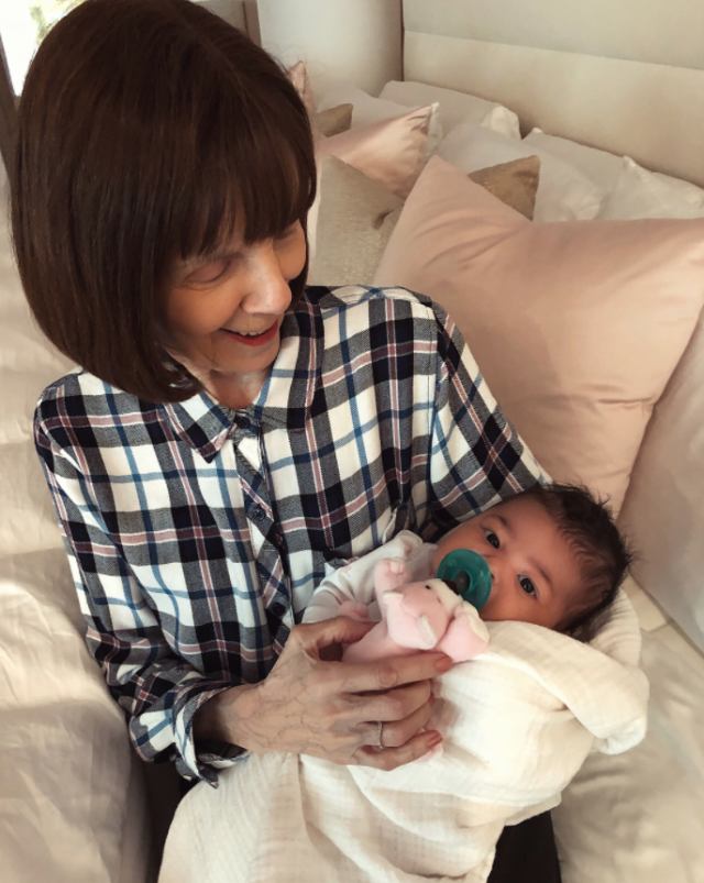 "<p>There is no shortage of people who want to hold that baby. On March 12, Kylie shared photos of Stormi getting some good lovin' from her great-grandmother Mary Jo ""M.J."" Houghton. (Photo: <a href=""https://www.instagram.com/p/BgNhHjWFj5m/?hl=en&taken-by=kyliejenner"" rel=""nofollow noopener"" target=""_blank"" data-ylk=""slk:Kylie Jenner via Instagram"" class=""link rapid-noclick-resp"">Kylie Jenner via Instagram</a>) </p>"