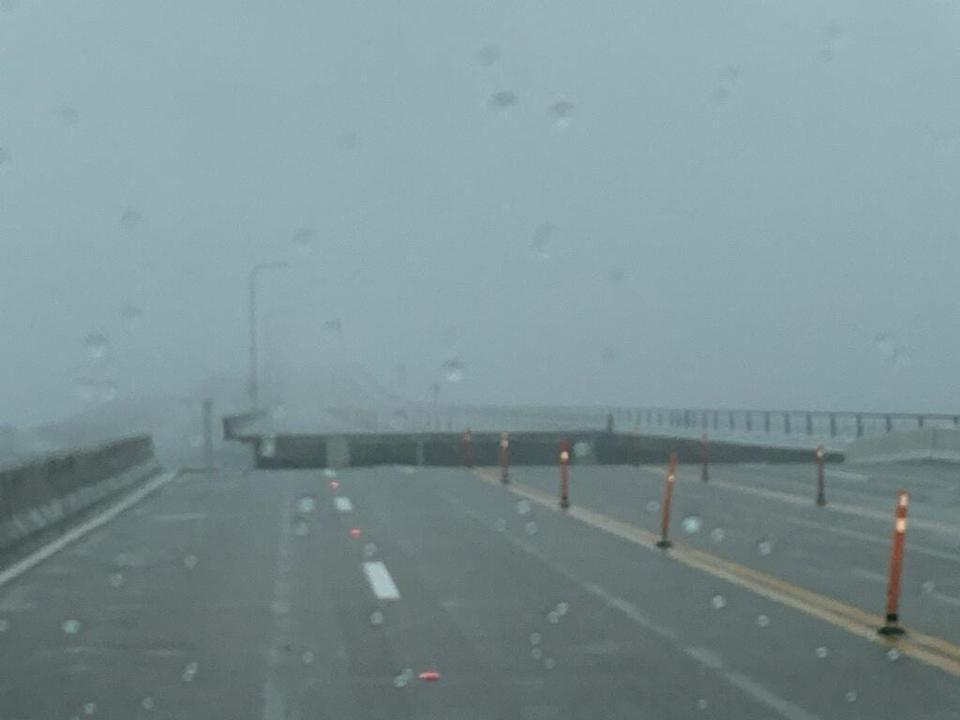 Pensacola Bay Bridge appears to have sustained damage during Hurricane Sally.