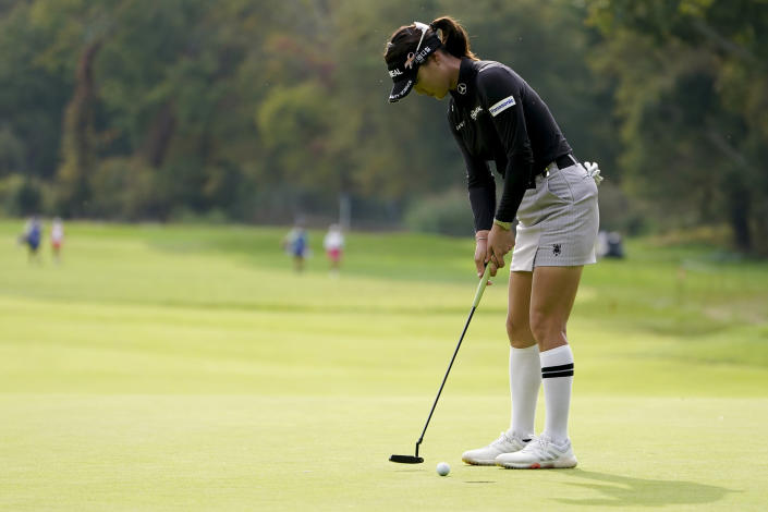 So Yeon Ryu, of South Korea, putts on the fourth green during the second round of the Cognizant Founders Cup LPGA golf tournament, Friday, Oct. 8, 2021, in West Caldwell, N.J. (AP Photo/John Minchillo)