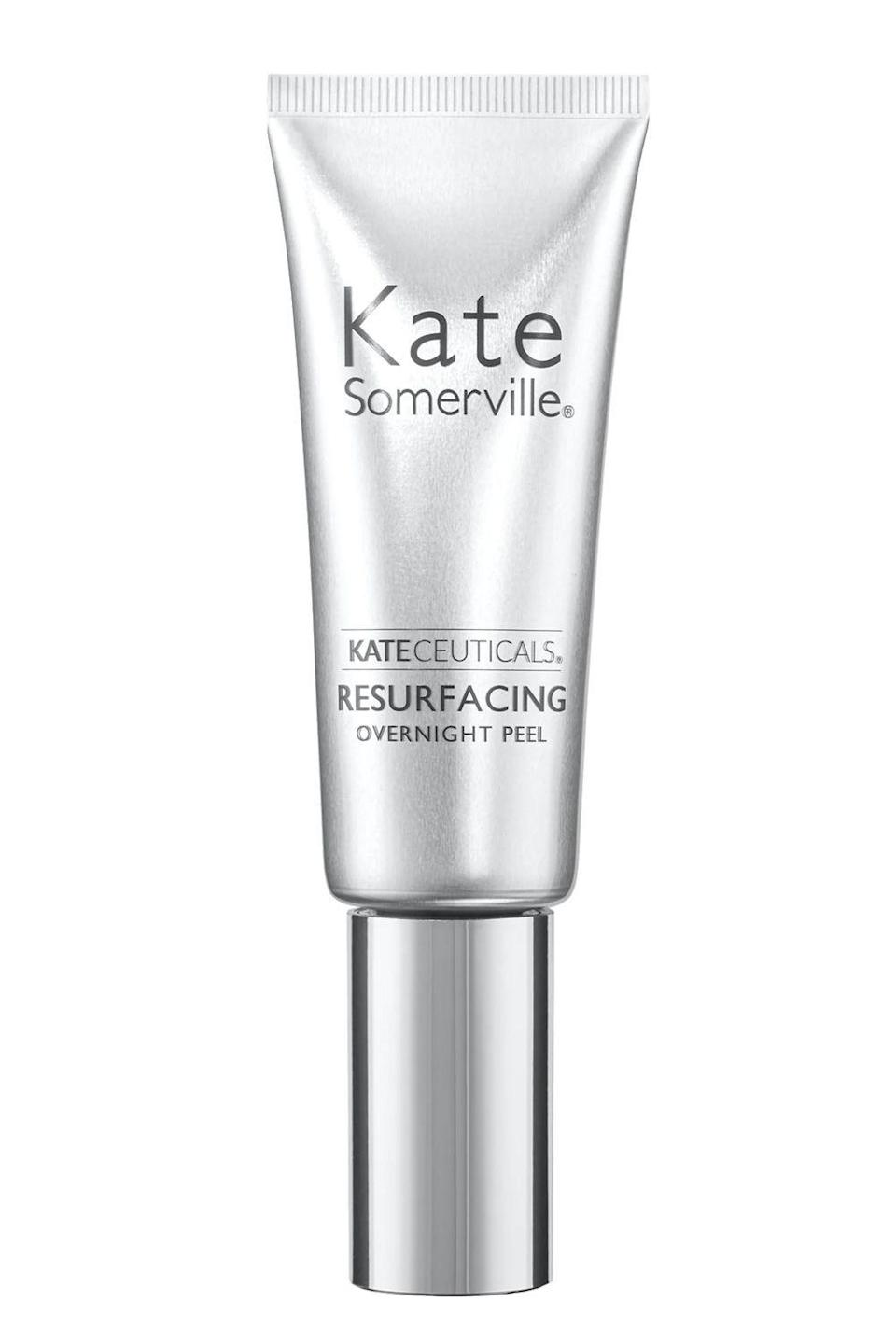 """<p><strong>Kate Somerville</strong></p><p>dermstore.com</p><p><strong>$88.00</strong></p><p><a href=""""https://go.redirectingat.com?id=74968X1596630&url=https%3A%2F%2Fwww.dermstore.com%2Fproduct_KateCeuticals%2BResurfacing%2BOvernight%2BPeel%2B_85867.htm&sref=https%3A%2F%2Fwww.cosmopolitan.com%2Fstyle-beauty%2Fbeauty%2Fg30554130%2Fbest-at-home-face-peel%2F"""" rel=""""nofollow noopener"""" target=""""_blank"""" data-ylk=""""slk:Shop Now"""" class=""""link rapid-noclick-resp"""">Shop Now</a></p><p>This chemical peel <strong>works its magic while you sleep</strong> to give you smoother, fresher looking skin come morning. Apply a thin layer to clean skin before bed, let it set for a few minutes, and then go to sleep. The combo of glycolic acid, retinol, and <a href=""""https://www.cosmopolitan.com/style-beauty/beauty/a27609307/vitamin-e-for-skin-benefits-products/"""" rel=""""nofollow noopener"""" target=""""_blank"""" data-ylk=""""slk:vitamin E"""" class=""""link rapid-noclick-resp"""">vitamin E</a> are clutch for shrinking pores and smoothing fine lines.</p>"""