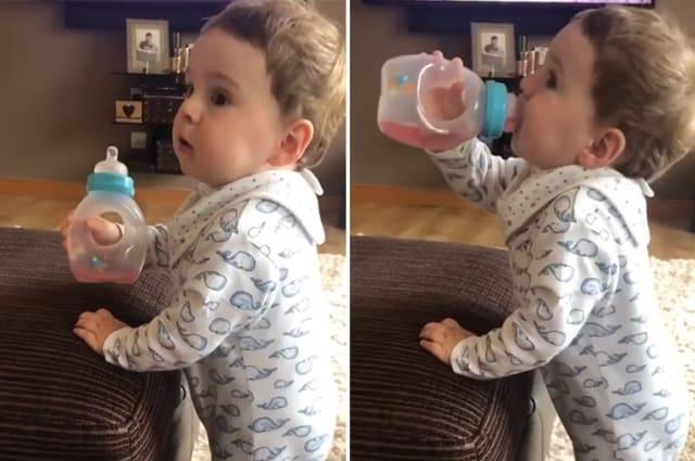 Baby appears to swear at dad