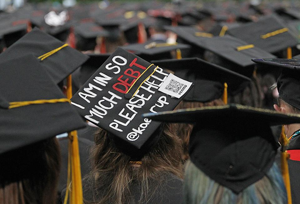 BOSTON, MA - MAY 3: The reality of college tuition debt was on display at the Northeastern University graduation at the TD Garden on May 03, 2019. (Photo by Suzanne Kreiter/The Boston Globe via Getty Images)