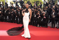 Bella Hadid poses for photographers upon arrival at the premiere of the film 'Annette' and the opening ceremony of the 74th international film festival, Cannes, southern France, Tuesday, July 6, 2021. (AP Photo/Brynn Anderson)