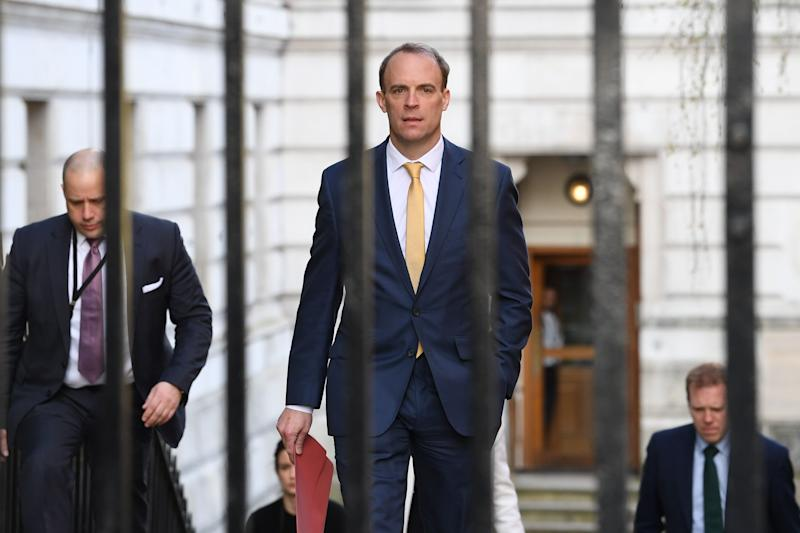 Foreign secretary Dominic Raab, who is taking charge of the government's response to the coronavirus crisis after Boris Johnson was admitted to intensive care Monday, arrives at 10 Downing Street, London. (Photo: PA)