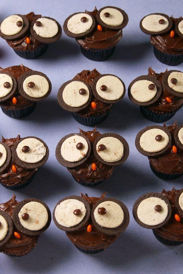 """<p>Use Oreos to turn cupcakes into the cutest little owl cupcakes. Each one will be more adorable than the last!</p><p>Get the <a href=""""https://www.delish.com/uk/cooking/recipes/a28783737/owl-cupcakes-recipe/"""" rel=""""nofollow noopener"""" target=""""_blank"""" data-ylk=""""slk:Owl Cupcakes"""" class=""""link rapid-noclick-resp"""">Owl Cupcakes</a> recipe.</p>"""