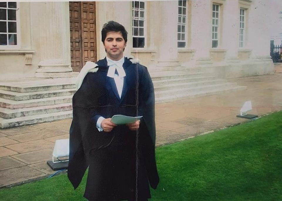Dr Arian is pictured on his graduation day at Cambridge University. (Waheed Arian/PA)