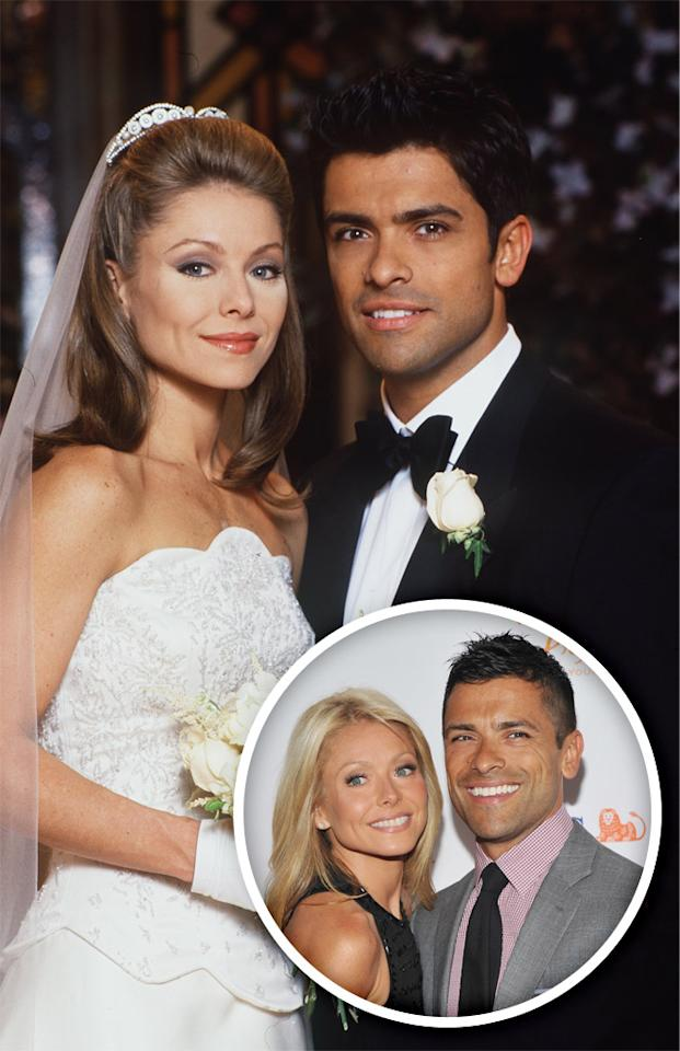 "In a case of art imitating life (since the characters got married after the real people did), ""All My Children"" stars Kelly Ripa and Mark Consuelos eloped in Las Vegas in 1996. Their characters, Hayley Vaughan and Mateo Santos, later tied the knot in 2000."