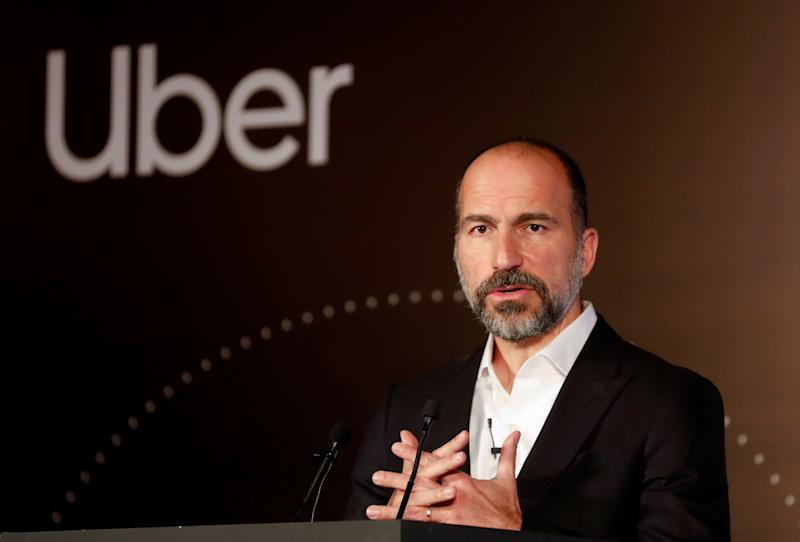 Uber CEO Dara Khosrowshahi speaks to the media at an event in New Delhi, India, October 22, 2019. REUTERS/Anushree Fadnavis
