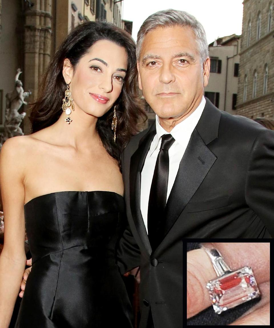 """<p>George Clooney proposed to lawyer and activist Amal Clooney (née Alamuddin) with an ethically mined emerald-cut diamond, <a rel=""""nofollow noopener"""" href=""""http://www.people.com/article/george-clooney-amal-alamuddin-engagement-party-malibu"""" target=""""_blank"""" data-ylk=""""slk:estimated at 7-plus carats"""" class=""""link rapid-noclick-resp"""">estimated at 7-plus carats</a>. The couple <a rel=""""nofollow noopener"""" href=""""http://www.instyle.com/news/george-clooney-and-amal-alamuddin-are-married"""" target=""""_blank"""" data-ylk=""""slk:wed in September 2014"""" class=""""link rapid-noclick-resp"""">wed in September 2014</a>.</p>"""