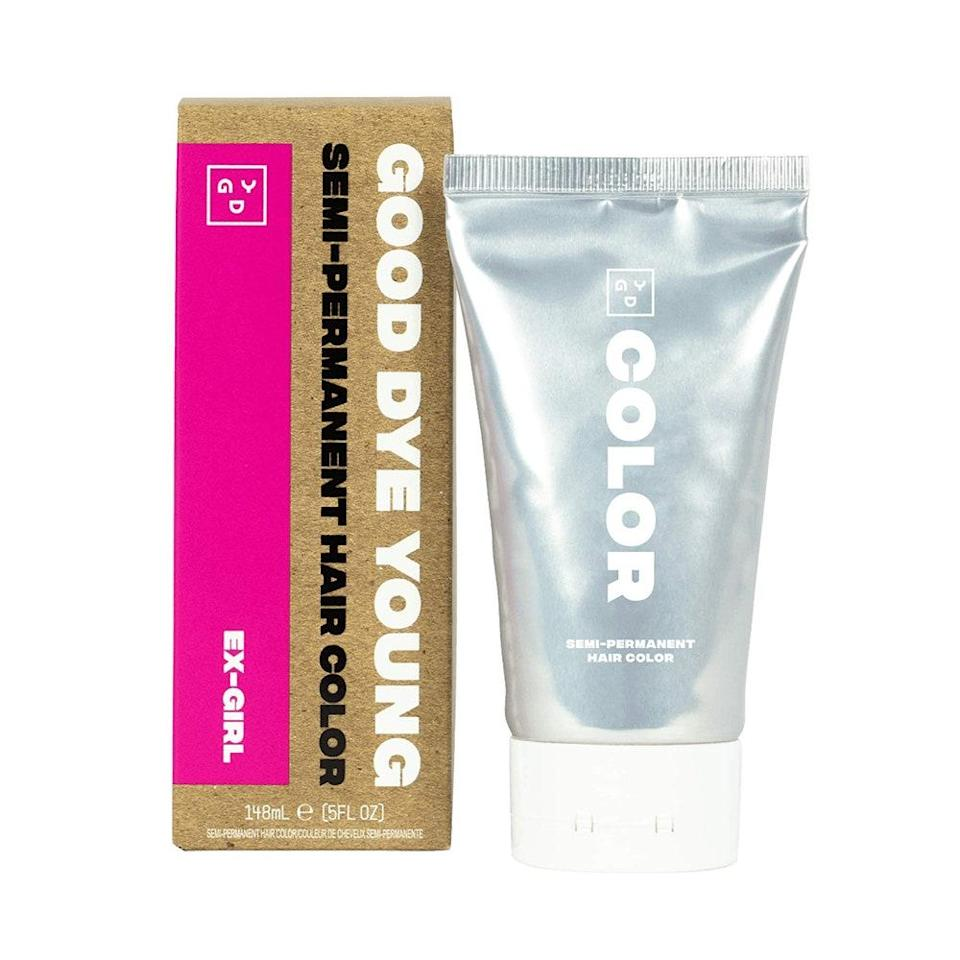 """<p>Perhaps the best part of Good Dye Young's Semi Permanent Hair Color is that it smells citrus-y and less like, well, chemical hair dye — and it's all thanks to essential oil of bergamot. On top of that, the hair color also contains moisture-sealing glycerin and <a href=""""https://www.allure.com/gallery/sun-uv-protection-for-hair-and-scalp?mbid=synd_yahoo_rss"""" rel=""""nofollow noopener"""" target=""""_blank"""" data-ylk=""""slk:sunflower extract"""" class=""""link rapid-noclick-resp"""">sunflower extract</a>, which helps calm and protect the scalp. And as the cherry on top, it imparts a hot pink shade you won't be able to stop admiring in the mirror, selfie mode, etc.</p> <p><strong>$6</strong> (<a href=""""https://www.amazon.com/Young-Semi-Permanent-Vegan-Cruelty-Free-EX-GIRL/dp/B077K8Q93K"""" rel=""""nofollow noopener"""" target=""""_blank"""" data-ylk=""""slk:Shop Now"""" class=""""link rapid-noclick-resp"""">Shop Now</a>)</p>"""