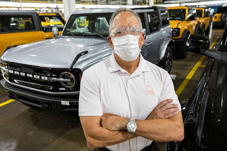 David Torosian, plant engineering manager at Michigan Assembly in Wayne, has worked at Ford for 34 years. He postponed retirement to work on the Bronco launch. He is seen here on June 9, 2021.