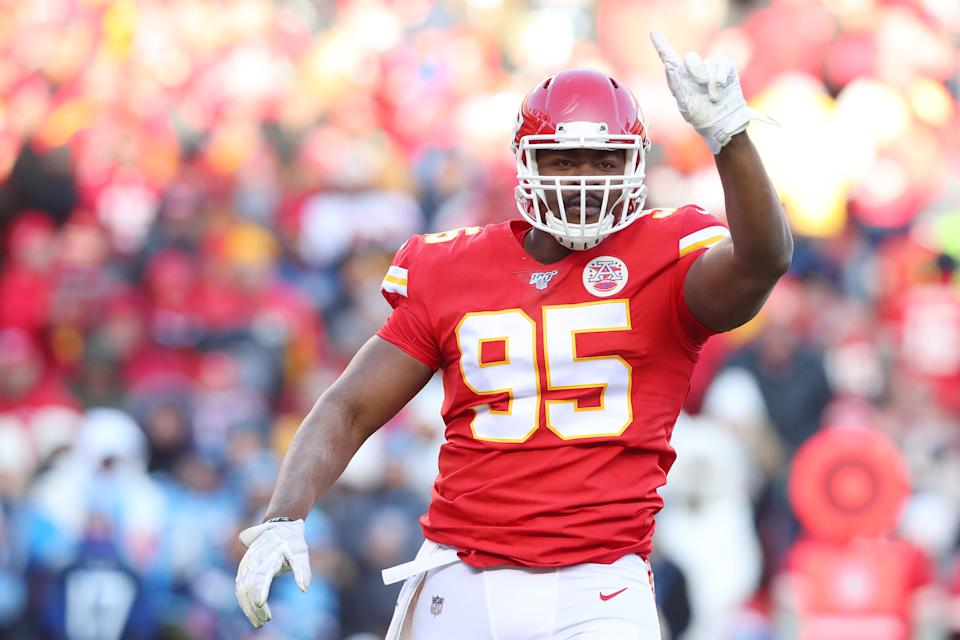 Chiefs defensive tackle Chris Jones believes he's worth at least $20 million a year. (Photo by Tom Pennington/Getty Images)