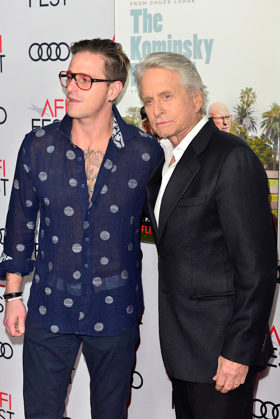 """Cameron Douglas (L) and Michael Douglas attend the Gala Screening of """"The Kominsky Method"""" at AFI FEST 2018 Presented By Audi at TCL Chinese Theatre on November 10, 2018 in Hollywood, California.  (Photo by Jerod Harris/Getty Images)"""