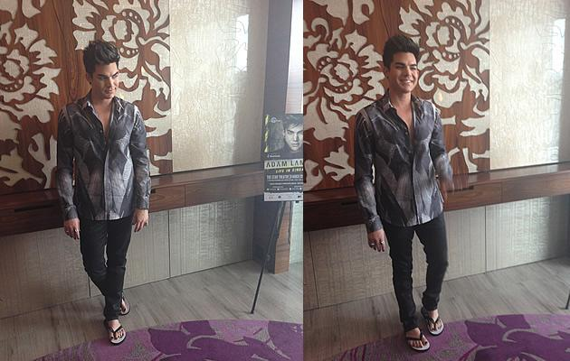 Glambert was in fifty shades of grey at the W Hotel in Singapore (Yahoo! Photos / Elizabeth Soh)