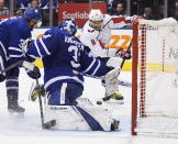 Washington Capitals left wing Alex Ovechkin (8) scores on Toronto Maple Leafs goaltender Frederik Andersen (31) during the third period of an NHL hockey game Tuesday, Oct. 29, 2019, in Toronto. (Hans Deryk/The Canadian Press via AP)