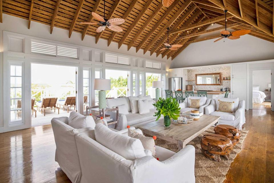 An airy interior at Kamalame Cay, voted one of the best hotels in the world
