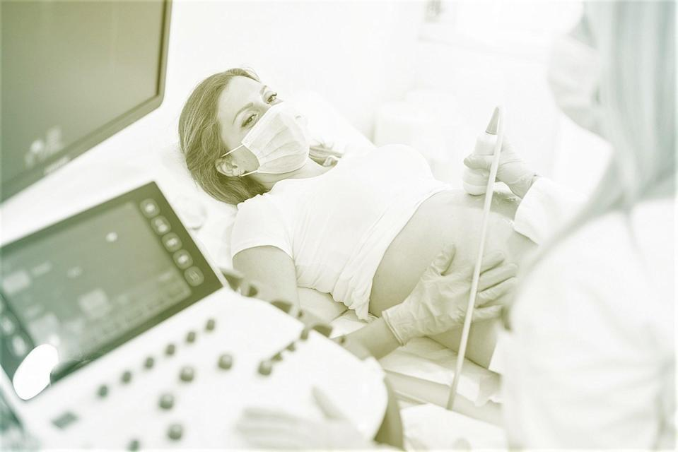 Pregnant woman on ultrasound