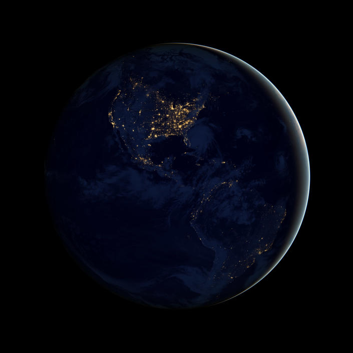 This image of North and South America at night is a composite assembled from data acquired by the Suomi NPP satellite in April and October 2012. The new data was mapped over existing Blue Marble imagery of Earth to provide a realistic view of the planet. (NASA)