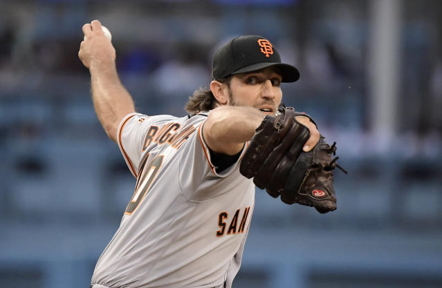 The Dodgers welcomed Giants ace Madison Bumgarner to Dodger Stadium with all kinds of taunts. (AP)