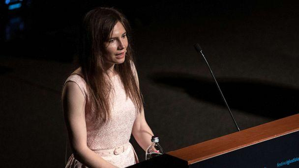 PHOTO: American journalist Amanda Knox delivers a speech during a panel session on June 15, 2019 in Modena, Italy. (Emanuele Cremaschi/Getty Images, FILE)