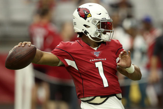 Arizona Cardinals quarterback Kyler Murray (1) warms up prior to an NFL football game against the Carolina Panthers, Sunday, Sept. 22, 2019, in Glendale, Ariz. (AP Photo/Ross D. Franklin)