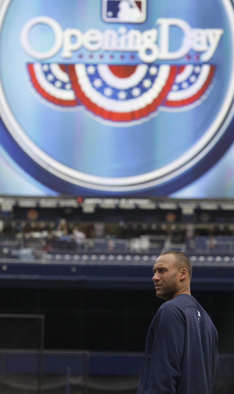 New York Yankees' Derek Jeter looks on during a practice at Yankee Stadium Wednesday, March 30, 2011  in New York. The Yankees open the season on Thursday, March 31, when they host the Detroit Tigers. (AP Photo/Frank Franklin II)