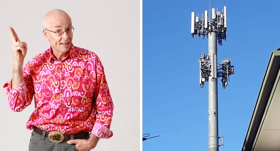 Dr Karl pictured on the left with an Australian telecommunications tower with antennas and mobile receivers pictured on the right.