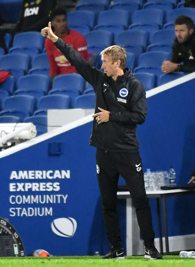 Brighton manager Graham Potter was keen to focus on the positives (Andy Rain/NMC Pool/PA).