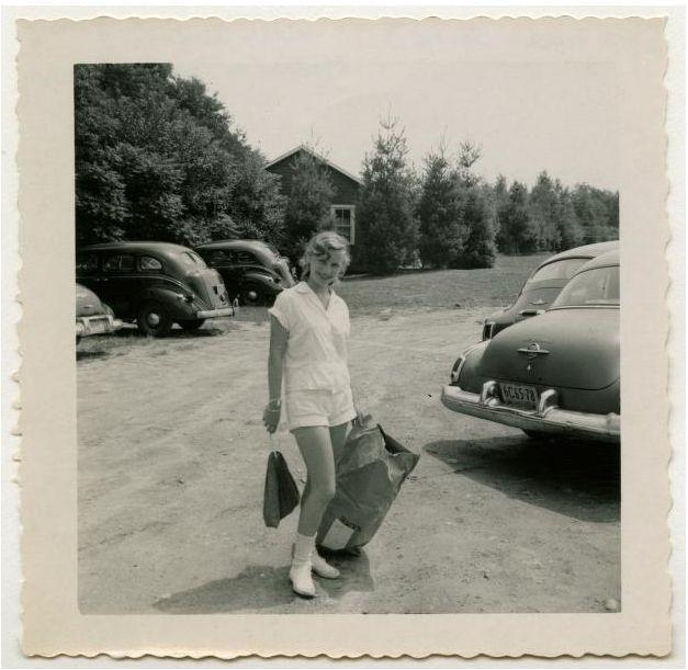 A young woman, Lois Greene, at Camp Watitoh, July 1951, from the Metz-Green-Stone Papers.