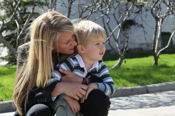 NASA astronaut Karen Nyberg shares a quiet moment with her 3-year-old son Jack during a tour of the Kremlin and Red Square in Moscow, Russia, on May 8. Nyberg and two crewmates will launch on a six-month mission to the International Space Stati