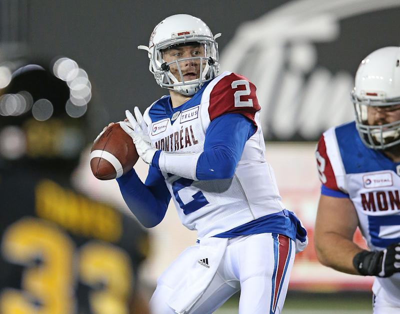 HAMILTON ON- NOVEMBER 3 Johnny Manziel #2 of the Montreal Alouettes fires a pass against the Hamilton Tiger Cats in a CFL game at Tim Hortons Field