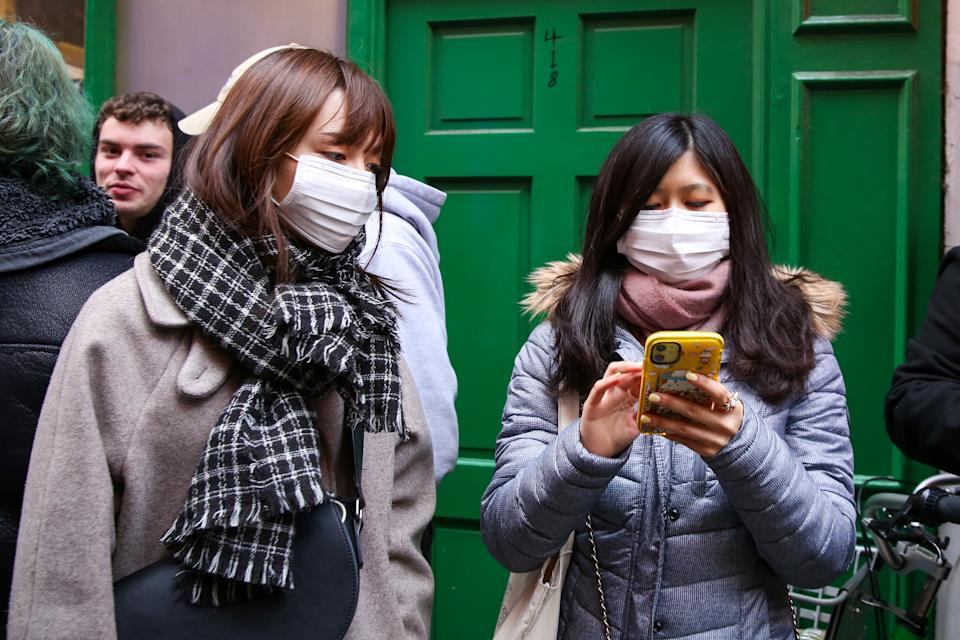Women are seen in central London wearing protective face masks as they take precaution against Coronavirus. 73 tests for Coronavirus that was conducted in the UK and all the results came back negative. (Photo by Steve Taylor / SOPA Images/Sipa USA)