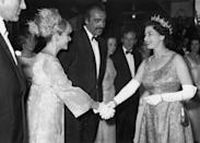 <p>007, meet QEII! Queen Elizabeth greeted Bond actor Sean Connery and his wife Diane Cilento at the premiere of <em>You Only Live Twice </em>in London in 1967.</p>