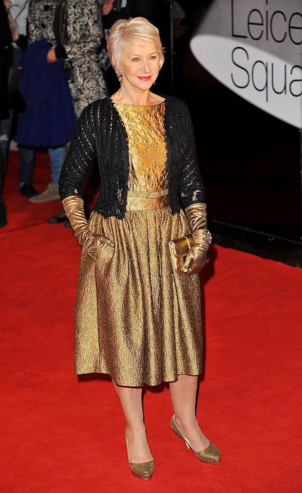 """Not even the real Queen -- Elizabeth II of the United Kingdom -- would be caught dead in an outfit as matronly as the one Dame Helen Mirren wore to the European premiere of """"Brighton Rock."""" Her hair and makeup are flawless, but the rest of her getup is truly frightening. Ferdaus Shamim/<a href=""""http://www.wireimage.com"""" target=""""new"""">WireImage.com</a> - February 1, 2011"""