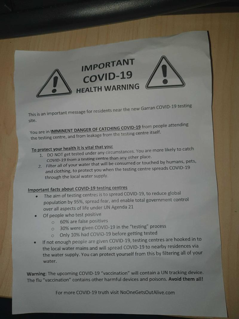 Pictured is a letter urging against coronavirus tests.