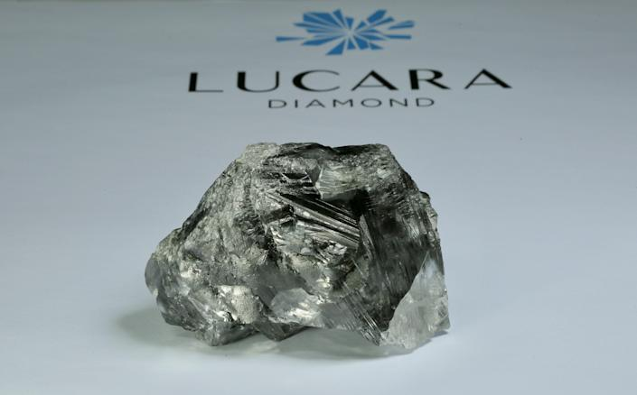 A photo of the 1,175-carat diamond found in the Karowe mine in June.