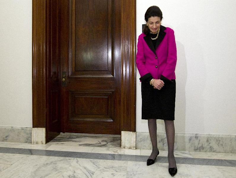 FILE - In this Feb. 28, 2012, file photo Republican Sen. Olympia Snowe of Maine prepares to announce her decision not to run for re-election outside her Capitol Hill office in Washington. The undisputed front-runner in the race to replace Snowe is the state's popular former Gov. Angus King. Meanwhile Democrats are betting their political futures on women in elections across the nation, and for many Maine women the 68-year-old left-leaning independent businessman is not their first choice. (AP Photo/Carolyn Kaster, File)