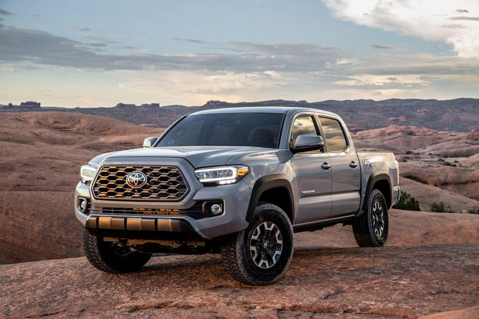 "<p>The <a href=""https://www.caranddriver.com/toyota/tacoma"" rel=""nofollow noopener"" target=""_blank"" data-ylk=""slk:Toyota Tacoma"" class=""link rapid-noclick-resp"">Toyota Tacoma</a> was refreshed for 2020, and it <a href=""https://www.caranddriver.com/news/a26184955/2020-toyota-tacoma-photos-info/"" rel=""nofollow noopener"" target=""_blank"" data-ylk=""slk:received a truckload of updates"" class=""link rapid-noclick-resp"">received a truckload of updates</a> inside and out. It's a popular choice for off-roaders of all levels thanks to its rugged design and proven powertrain, even in three-pedal form. It does offer the most standard driver-assist features of trucks in this segment; however, the rubbery cabin and its lack of space is a drawback. Its definitive truck look comes with stereotypical poor fuel economy, in a segment teeming with better paved-road handling and fuel efficiency. The Tacoma can do it all, but the reality is that the newer mid-size trucks just do it better. <a class=""link rapid-noclick-resp"" href=""https://www.caranddriver.com/toyota/tacoma/specs"" rel=""nofollow noopener"" target=""_blank"" data-ylk=""slk:MORE TOYOTA TACOMA SPECS"">MORE TOYOTA TACOMA SPECS</a></p><ul><li>Base price: $27,425</li><li>Powertrain: 159-hp 2.7L inline-4, six-speed automatic transmission; 278-hp 3.5L V-6, six-speed manual, six-speed automatic transmission</li><li>Max Towing: 6800 lb</li></ul>"