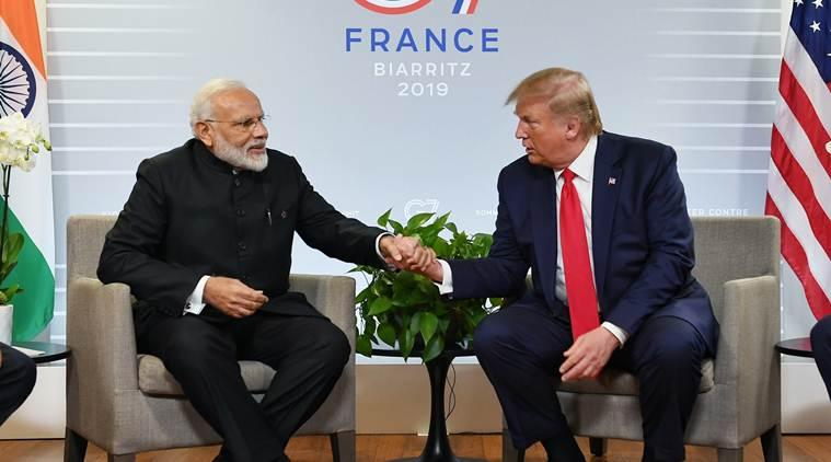 PM Modi, modi in g7 summit live updates, modi at G7 summit, modi at G7, G7 Summit, G7 Summit Live updates, G7 summit France, PM Modi at G-7 Summit, Modi Trump Meeting, Kashmir Mediation, Trump on Kashmir, Climate Change, modi on climate change, modi trump on climate change, modi trump G7, india news, Indian Express
