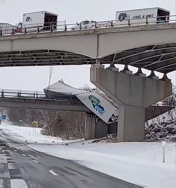 PHOTO: A truck hangs off an overpass after a multi-vehicle crash on I-86 in Chautauqua County, New York, Feb. 28, 2020, during a winter storm which created treacherous road conditions in upstate New York. (Cody Anthony/Facebook)